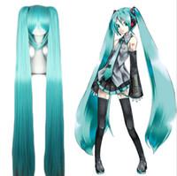 costumes jumeaux achat en gros de-ZF Hatsune Miku perruque cosplay 120CM Bleu Couleurs Bouquets Twin Tail Lolita Costume Unisexe Home Party