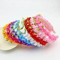 Wholesale Low Price Baby Girl - Low Price Colorful Children Accessories Ribbon Flower Baby Girls Hair Bands Baby Headband Children Accessories Hair band