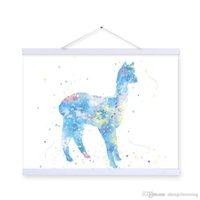 Wholesale horse wall paint modern - Original Watercolor Kawaii Grass Mud Horse Kids Room Modern Abstract Wall Art A4 Large Alpaca Poster Prints Canvas Painting Gift