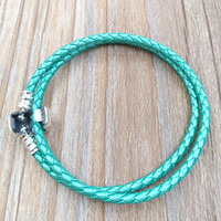 Wholesale leather bracelets online - Authentic Silver Green Double Leather Fits European Pandora Style Jewelry Charms Beads Handmade Gift CLG D