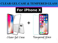 Wholesale Transparent Soft Glass - Slim Transparent Clear Gel Soft Back TPU Case And Tempered Glass Screen Protector Film for iPhone X 6 6S Plus 7 8 Plus