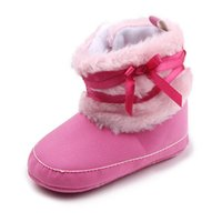 Wholesale Baby Coral Fleece Fabric - Warm Winter Baby Boots Infant Walking Shoes Coral Fleece Lace Hook & Loop Anti-slip Soft Sole High Upper
