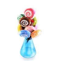 serviette faveur de fête de mariage achat en gros de-En gros-Lollipop Towel NOUVELLE débarbouillette serviette cadeau nuptiale bébé douche mariage faveur de fête