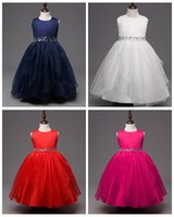 Wholesale Skirts Formal Dance - Big girl dance dress children holiday crepe tutu skirts pure color kids dresses with resin belt princess boutique skirt