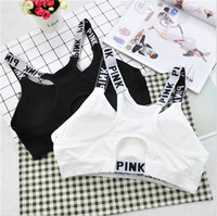 Pink Letter Yoga Bras Women Running Sports Shirts Pink Gym Reggiseni Push Up Fitness Vest Elastic Fashion Crop Top Sexy Underwear magliette corte