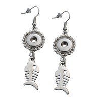 Wholesale Earring Bone Hook - Fish Bone Dangle Hook Charm Earrings Fit DIY 12mm Snap Buttons With Safety Backs 5 Pairs