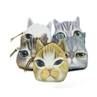 Wholesale novelty makeup - Wholesale- 1PCS New Fashion Novelty Girl Cartoon Cute Cat Face Zipper Case Coin Case Purse Wallet Makeup Buggy Bag Pouch
