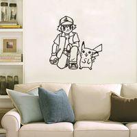 asche poke großhandel-Poke Wandaufkleber Ash Ketchum und Pikachu Karikatur sickers schwarz weiß Skizze Aufkleber 56 * 57cm für Kinderzimmer Dekor T403-1
