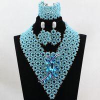 ingrosso gioielli per matrimoni-Incredibile clip cielo blu argento perline africane Set di gioielli Moda Orecchini Pendenti Collane Bracciali Bracciali Set per le donne Prezzo all'ingrosso