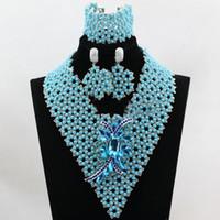 ingrosso braccialetti d'argento africani del braccialetto-Incredibile clip cielo blu argento perline africane Set di gioielli Moda Orecchini Pendenti Collane Bracciali Bracciali Set per le donne Prezzo all'ingrosso