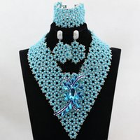 Wholesale Black Crystal Clip Earrings - amazing clips sky blue silver african beads Jewelry Sets Fashion Earrings Pendants Necklaces Bracelets Bangles Set for Women Wholesale price