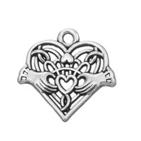 Wholesale Heart Pendents Wholesale - New Hot DIY Fashion Jewelry Antique Silver plated Heart in Hands Pendents Charm