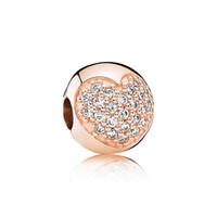 büyük delik altın boncuklar toptan satış-Yeni 18 k gül altın Big Hole boncuk damla Retro Oval / aşk şekli elmas cam kristal gümüş boncuk DIY Pandora Bilezik takı