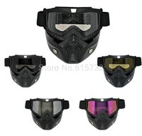 Wholesale Nose Goggles - Motorbike motocorss bike Goggles Glasses Face Dust Mask With Detachable Nose Face Gafa Motocross Helmet motorcycle mask goggle