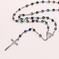 edelsteine perlen halskette großhandel-2017 neue Frauen Böhmen Halsketten Y Förmigen Lariat Halskette Edelstein Gebet Rosenkranz Jesus Kreuz Anhänger