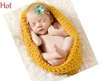 Wholesale Crochet Baby Hats Sleeping Bags - Baby Bowl Cocoon Photography Props Costume Handmade Knit Crochet Infant Sleeping Bag Hat Pod Blanket Toddler Costume Background New SV021796