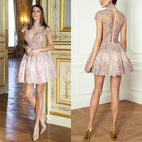 Wholesale white short cocktail dress crystals for sale - Group buy 2018 Lovely Blush Pink Ball Gown Short Cocktail Dresses High Neck Short Sleeves With Sequin Beading See Through Middle East Homecoming Gowns