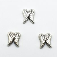Wholesale Wholesale Angels Glass Wings - silvery Angel wings floating charms for glass memory living Oragami Owl floating lockets