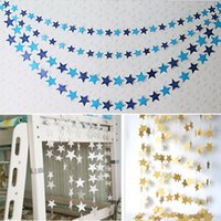 Wholesale Paper Hanging Star - Wall Hanging Paper Garland Five Pointed Star String Chain For Birthday Party Wedding Decor Banner Gift 2 5bd F