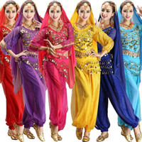 4 pezzi Set maniche lunghe India Egitto pancia costume di danza Bollywood costumi indiani Dress Bellydance Womens Dress Danza del ventre