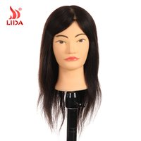 "Wholesale Chinese Professional Hair - WholesaleReal Human Hair Professional Mannequin Head for Hairdressing Training Use Salon Training Mannequin Heads 16"" Color 1B Chinese Hair"