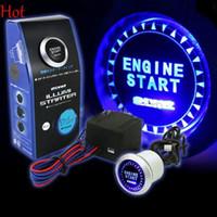 botón de 12v al por mayor-12V motor de arranque del coche botón pulsador interruptor de arranque kit de encendido azul LED universal interruptor de encendido sin llave kit SV001478