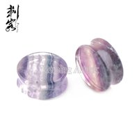 Wholesale Wholesale Double Flare Tunnels - New Arrival Rainbow Fluorite Double Flare Plugs Natural Stone Ear Plugs Free Shipping Wholesale Lot of 10pcs