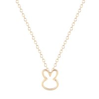 Wholesale Bunny Plates - 10pcs lot Simple Loverly Bunny Charm Necklaces Gift for Girls Cut Small Animal Rabbit Pendants Lovers Pet Jewelry Collier Femme