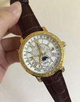 Wholesale Men Sapphire Bracelet - 2016 bandswatch8u suggest Factory Price 4 color dial quartz Men leather Bracelet gold watchcase Watches Wristwatches
