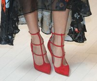 Wholesale Blue Muse - elegant Women Shoes Pionted Toe High Heels Sexy Red sole High Heels Toerless Muse Suede Pumps Women's Red Bottoms wedding party Shoes 35-42