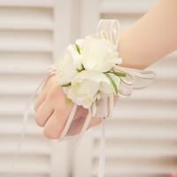 Wholesale Milk Tea Supplies - 2016 Milk white bride bridesmaid wrist flowers, cheap wedding supplies ribbon bow pearl wrist corsage for wedding two color available Z365