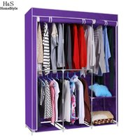 Wholesale Clothing Furniture Wardrobe - Modern Style Home DIY Portable Closet Storage Organizer Wardrobe Clothes Rack With Hanger Dark Purple Ship From US
