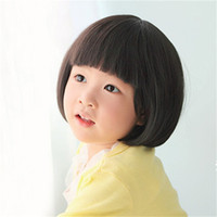 kızlar kahverengi saç peruk toptan satış-WoodFestival Çocuk Peruk Sentetik Çocuk Peruk Sentetik Kısa Siyah srtaight Saç Peruk Küçük Kızlar için Koyu Kahverengi Çocuklar Peruk
