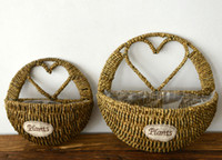 2PCS-PACK New Rattan Straw Flower Baskets Decoração de parede Pendurado Craft Flower Pot para plantas de jardim artificiais Wedding Decoration Novelty Wall