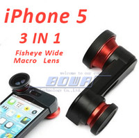 Wholesale Iphone Charge Set - Camera Lens for iPhone 5 5S Photo Lens Fast Charging Fisheye Wide Micro 3 in 1 Zoom Len Set Mount Fish Eye Lens
