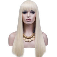 pelucas de encaje humano rubio platino al por mayor-WIG Best Quality # 60 Platinum Blonde 150% Density Full Lace peluca de cabello humano Virgin Brazilian 100 Glueless Full Lace peluca de seda Straight Kabell