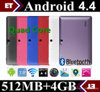 Wholesale 7 quot inch A33 Quad Core Tablet Allwinner Android KitKat Capacitive GHz DDR3 MB RAM GB ROM Dual Camera WIFI