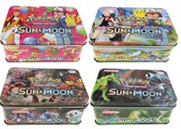 Wholesale Tin Box Cards - 30sets lot Poke Trading Cards XY Series Collectors Tin English Edition Anime Pocket Monsters Cards Toys Metal Boxes Packing 41pcs lot