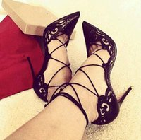 Wholesale Dresses Size Weding - 2016 Sexy Laser Women Pumps Lace Up Women Bride Dress Shoes High Heel Sandals Booties Ankle Strappy Weding Women Motorcycle Shoes Plus Size