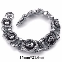 Wholesale jewelry designs gothic - High Quality Women's Gothic Luxury Jewelry Stainless Steel Silvery Black Delicate Charm Skulls Shape New Designed Bracelet