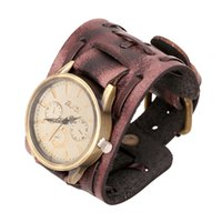 Wholesale Broadband Watch - Retro   Punk   Fashion Men's Retro Leather Bracelet Watch Handmade Retro Broadband Table Personalized Leather Bracelet Watch