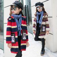 Wholesale Girls Winter Coat Size 12 - Children woolen jacket coat Korean tide 2017 winter autumn new fashion long outerwear size 6 7 8 9 10 11 12 13 14 years girl