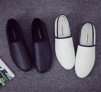 Wholesale Pointed Toe Loafer Shoes - New Arrival Men Casual Shoes 2016 Summer Men's Fashion Solid Breathable Flats Loafers Lazy Shoes Weave shoes White And Black ALL Size