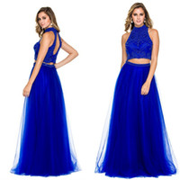 Wholesale Sapphire Blue Ivory - Custom-Made 2016 Fashion Two Pieces Prom Dresses Halter Hollow Back Floor Length Sleeveless Sapphire Beading Party Evening Dress