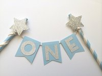 twinkle little star prices - Hot sale Gold Silver Cake Bunting Twinkle little star 1st Birthday Party Cake Toppers baby first party supplies handmade craft