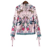 Wholesale Blouse Animals - Blouse Women Cardigan Blouses Print Animal New Shirt Sleeve Long Women Bow Fashion Shirts Summer 2017 Autumn Button Open Casual Tops W172