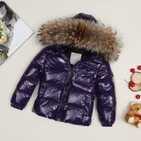 Wholesale Girls Beige Coats - ME1 Luxury Brand Boys girls waterproof real raccoon fur collar jacket outwear winter french warm snow suit coat anorak children parka