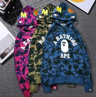 Wholesale Women Long Hoodies Dresses - Europe and the United States MA1 Kanye tide brand APE shark head ape Camo hoodies women couples dress