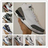 Wholesale Cheap Shoe Laces Free Shipping - Brand Cheap New Retro 3 3s III White Cement Black Cement Wolf Grey Metallic Wholesale Mens Basketball Shoes sneakers Eur 41-47 free shipping