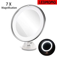 Wholesale Led Makeup Mirror Magnifying - NEW LED 7X Magnifying Cosmetic Makeup Mirror With Power Locking Suction Cup Bright Diffused Light 360 Degree Rotating